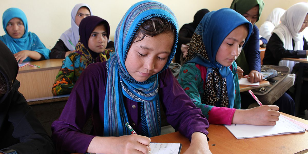 Girls attending English classes in Herat, Afghanistan.