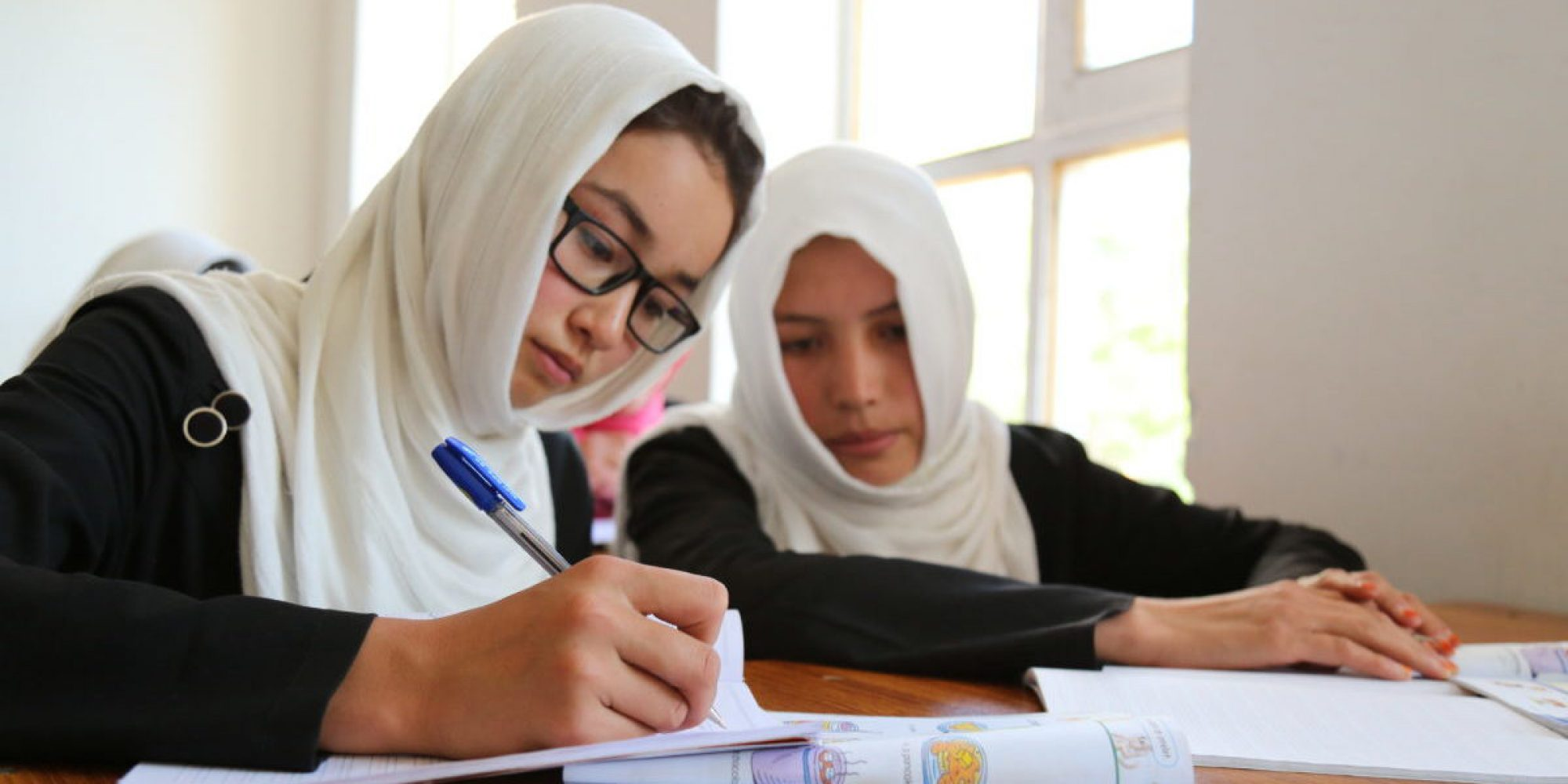 Girls attending JRS classes in Afghanistan.